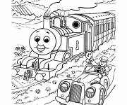 Coloring pages Magic train and car