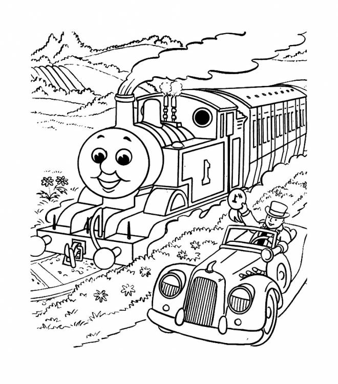 Free coloring and drawings Magic train and car Coloring page