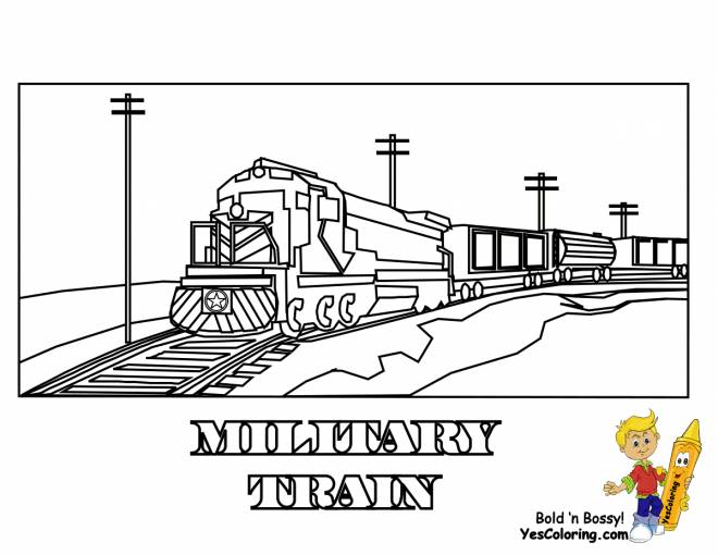 Free coloring and drawings Military locomotive Coloring page