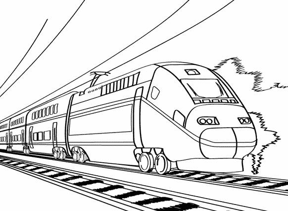 Free coloring and drawings Modern electric train Coloring page