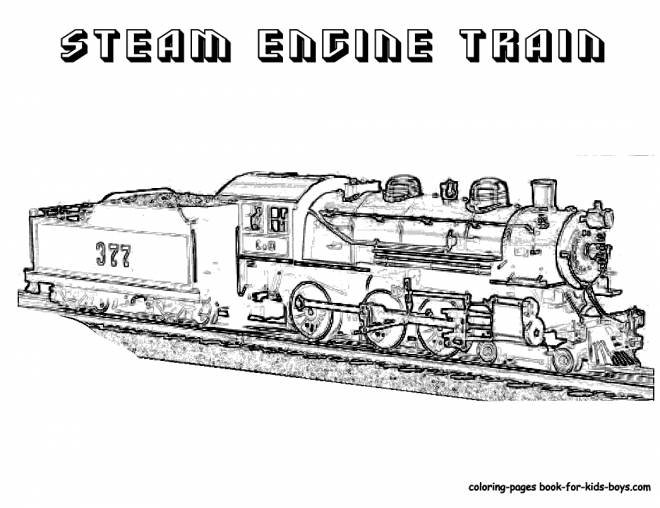 Free coloring and drawings Realistic steam train Coloring page