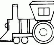 Coloring pages Simplified locomotive