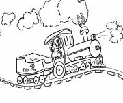 Coloring pages Steam train on the way