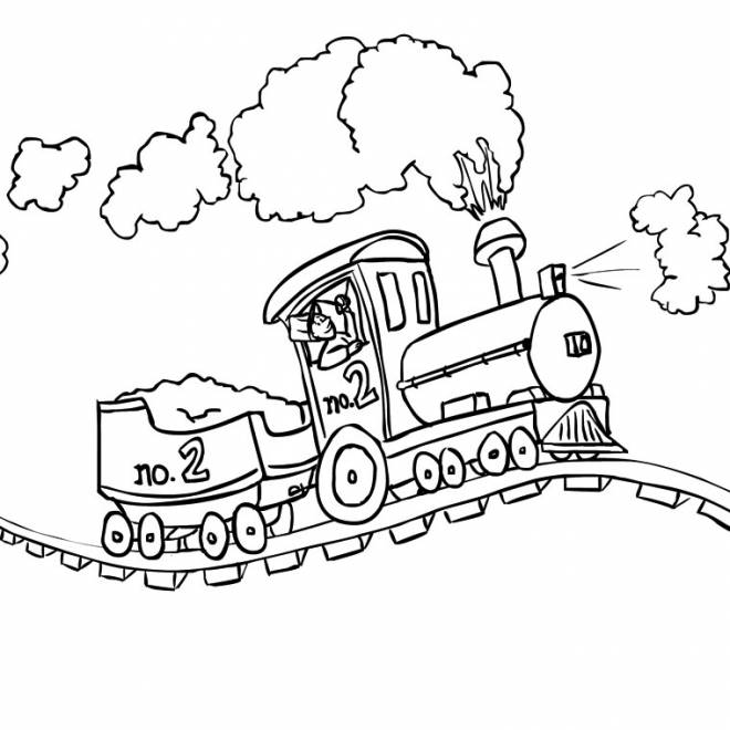 Free coloring and drawings Steam train on the way Coloring page