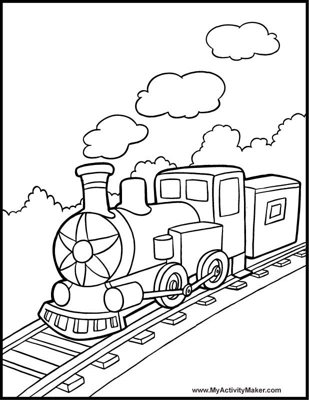 Free coloring and drawings Steam train to print Coloring page