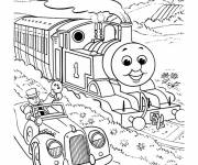 Coloring pages The car drives near the Train