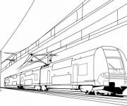 Coloring pages The very fast train on the railway