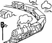 Coloring pages Train and nature