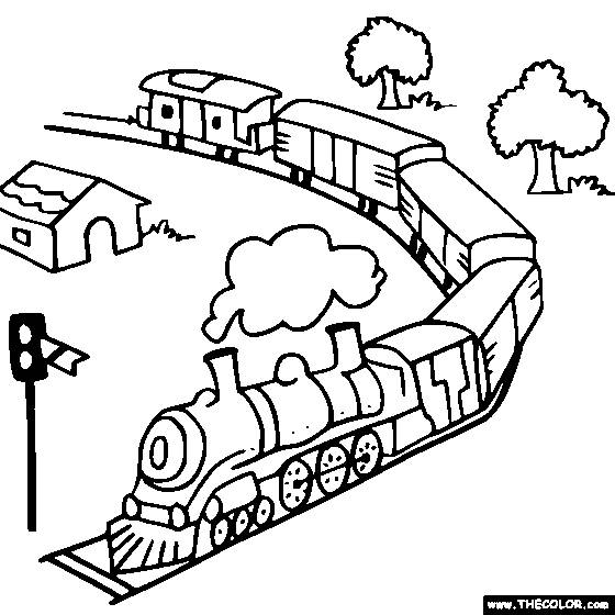 Free coloring and drawings Train and nature Coloring page