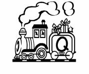 Coloring pages Train carrying gifts