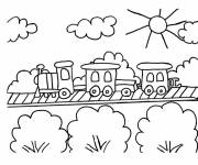 Coloring pages Train goes through the countryside