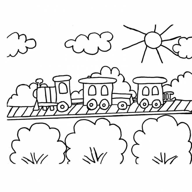Free coloring and drawings Train goes through the countryside Coloring page