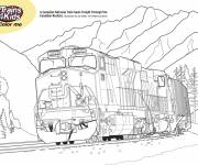 Coloring pages Train in the Canadian mountains