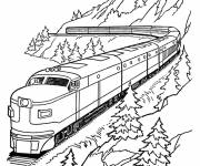 Coloring pages Train in the mountain