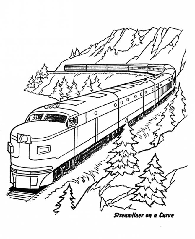 Free coloring and drawings Train in the mountain Coloring page