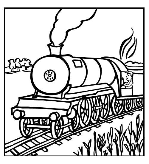 Free coloring and drawings Train Locomotive Landscape Coloring page
