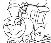 Coloring pages Train locomotive looking at you