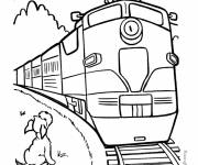 Coloring pages Train passes in front of the dog