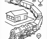 Coloring pages Train runs through the countryside
