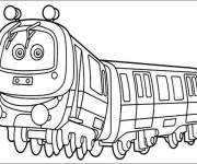 Coloring pages Train with eyes for children