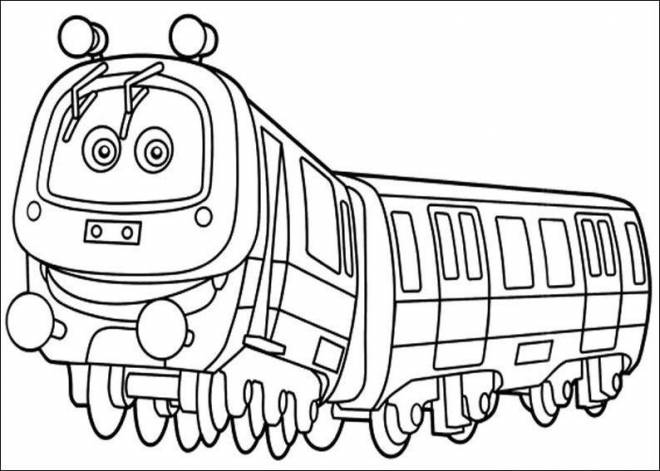 Free coloring and drawings Train with eyes for children Coloring page