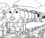 Free coloring and drawings Train with face Coloring page