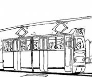 Coloring pages Tram transports passengers