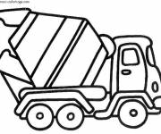 Coloring pages A concrete mixer truck in vector