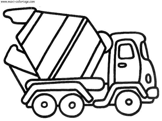 Free coloring and drawings A concrete mixer truck in vector Coloring page