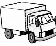 Coloring pages A trailer truck easy to color