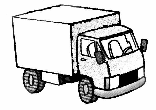 Free coloring and drawings A trailer truck easy to color Coloring page