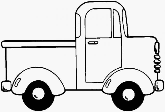 Free coloring and drawings An Easy Pickup Truck Coloring page