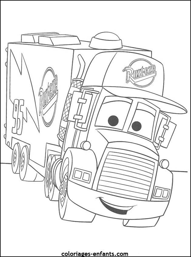 Free coloring and drawings Cartoon mack truck Coloring page