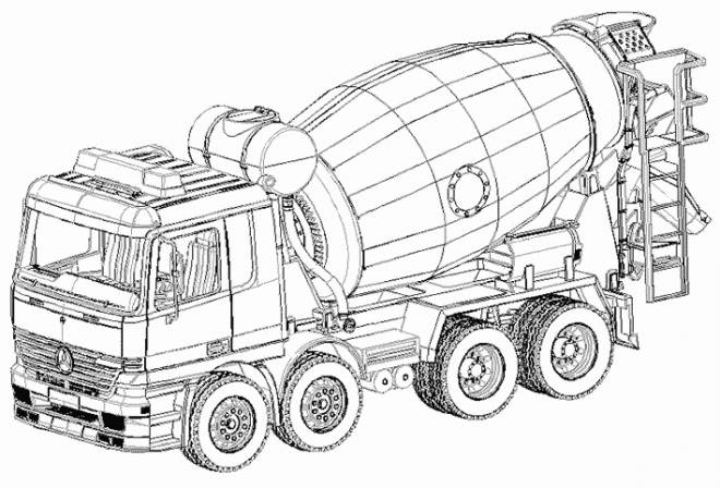 Free coloring and drawings Concrete truck Coloring page