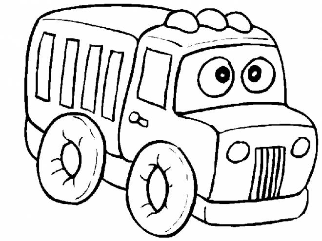 Free coloring and drawings Funny truck Coloring page