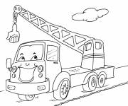 Coloring pages Humorous crane truck