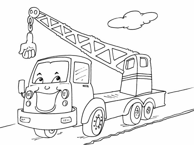 Free coloring and drawings Humorous crane truck Coloring page