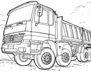 Coloring pages Mercedes truck in the field