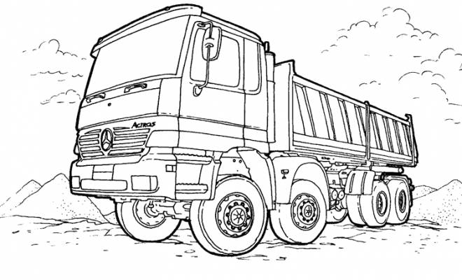 Free coloring and drawings Mercedes truck in the field Coloring page