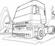 Free coloring and drawings Scania Truck Head Coloring page