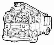 Coloring pages The Fireman drives the Truck