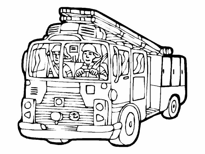 Free coloring and drawings The Fireman drives the Truck Coloring page