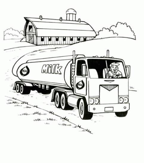 Free coloring and drawings Truck carries milk Coloring page