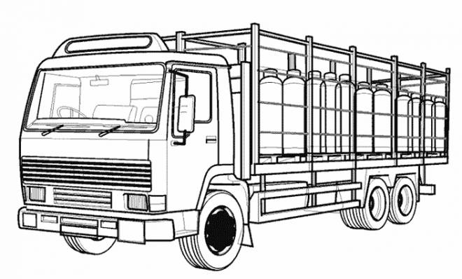 Free coloring and drawings Vector semi trailer truck Coloring page
