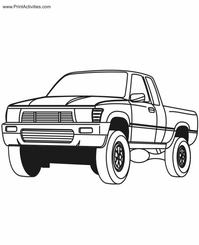 Free coloring and drawings A Pick Up Car Coloring page