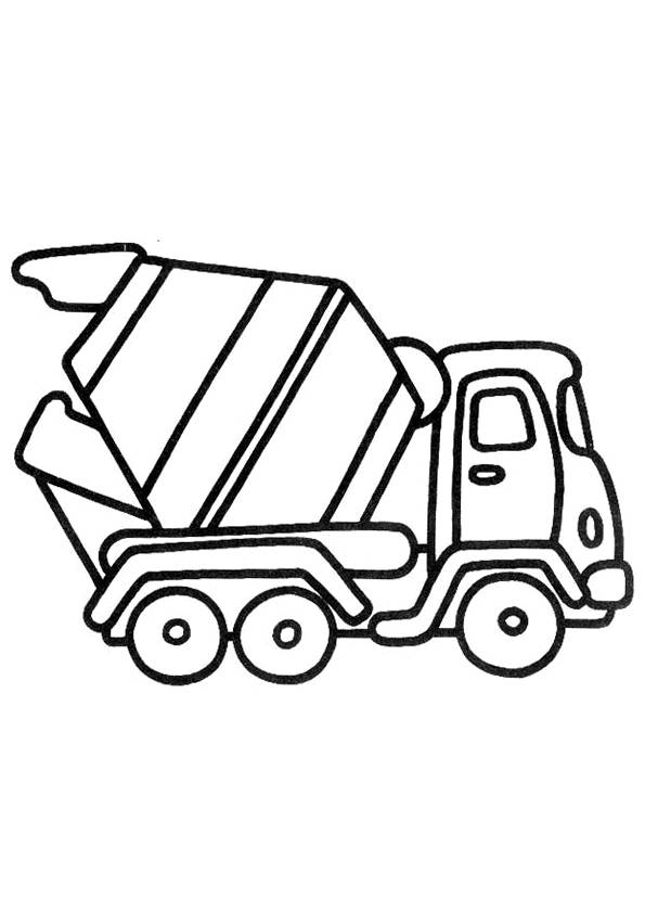 Free coloring and drawings Concrete mixer van Coloring page