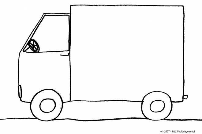 Free coloring and drawings Simple pencil truck Coloring page