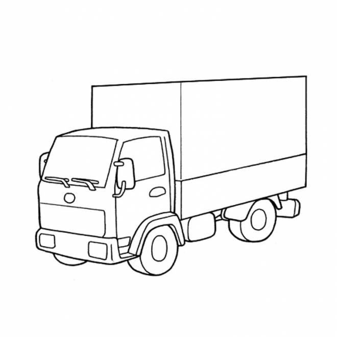 Free coloring and drawings single closed truck Coloring page