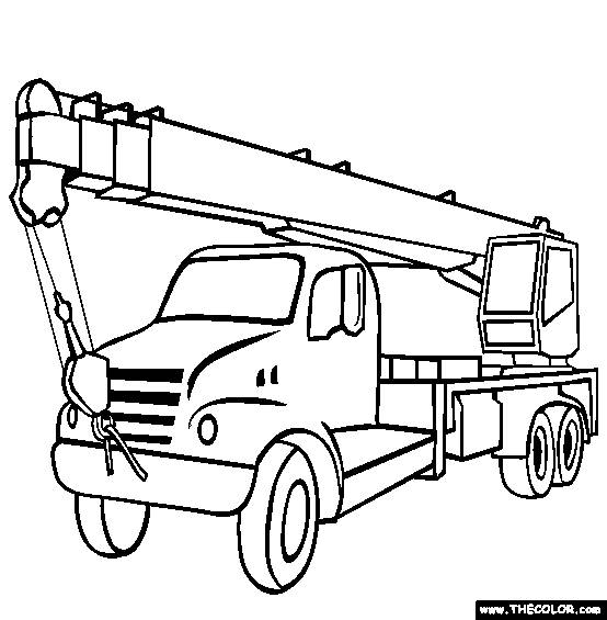 Free coloring and drawings Truck crane Coloring page