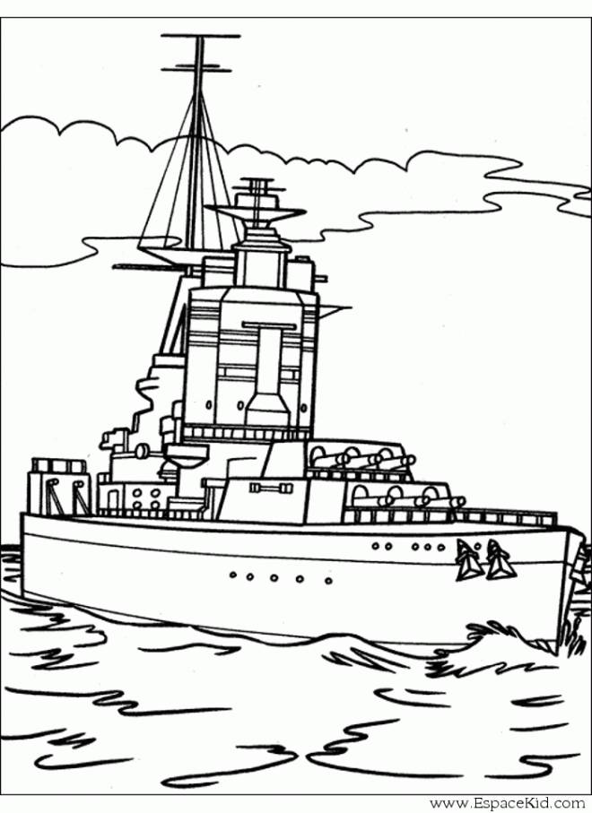 Free coloring and drawings A military boat Coloring page